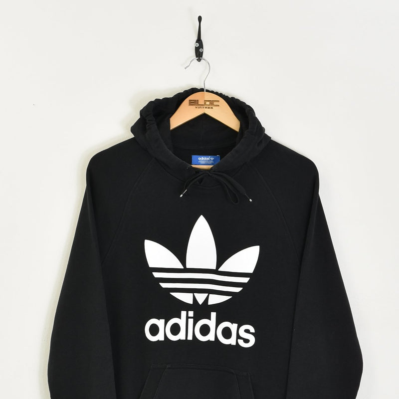 Adidas Hooded Sweatshirt Black Medium - BLOC Vintage Clothing