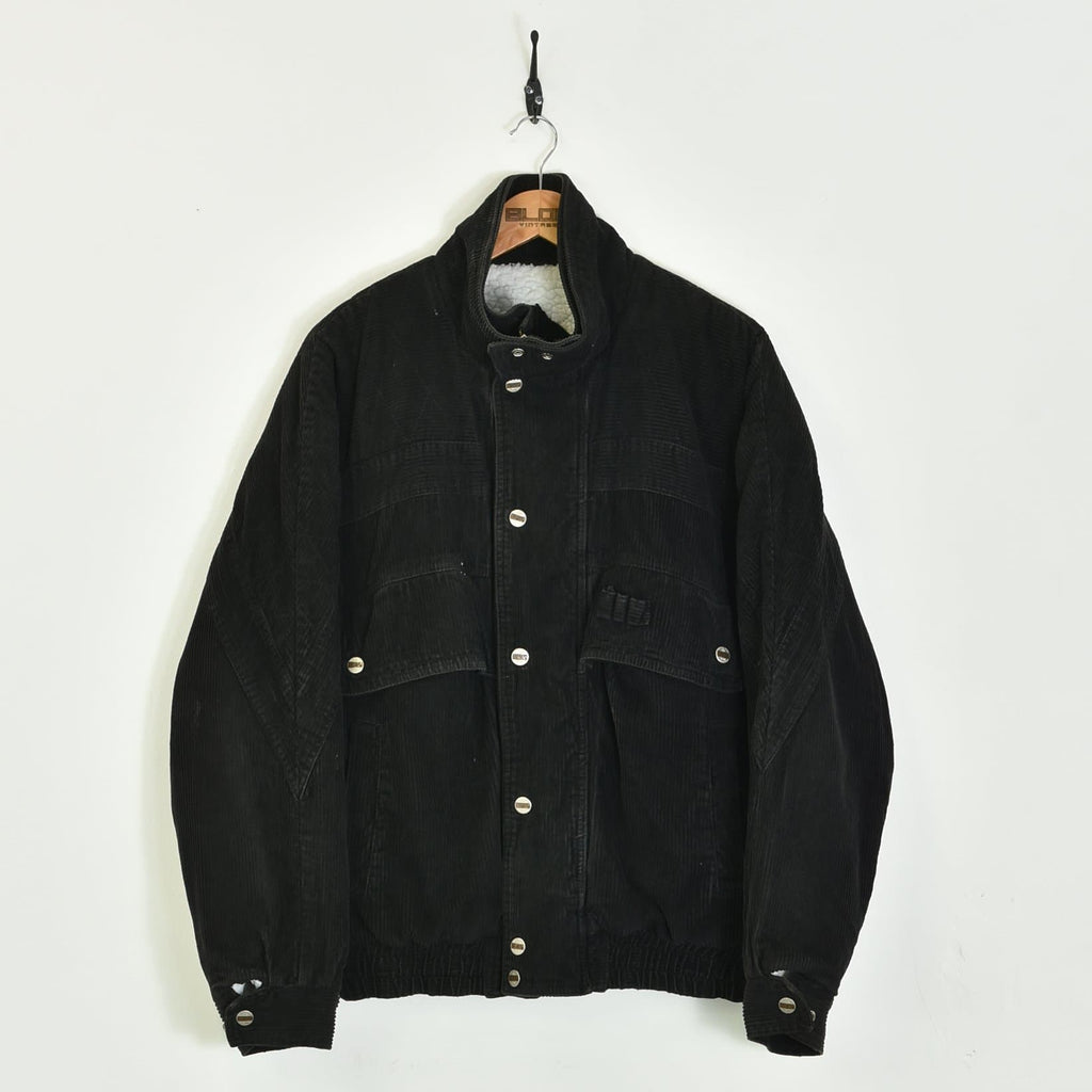 Fleece Lined Corduroy Jacket Black Small - BLOC Vintage Clothing