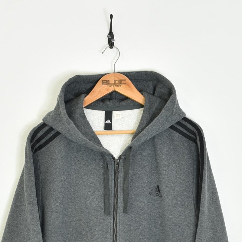 Adidas Quarter Zip Hooded Sweatshirt Grey XLarge - BLOC Vintage Clothing