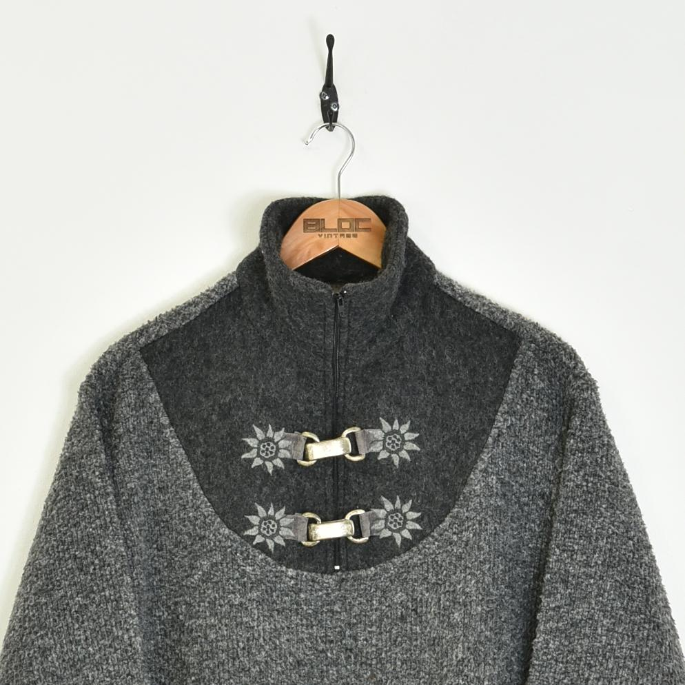 Patterned Fleece Grey Large - BLOC Vintage Clothing