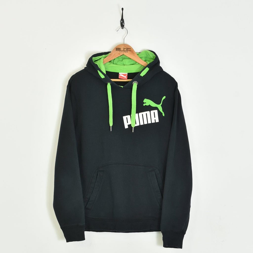 Puma Hooded Sweatshirt Black Small - BLOC Vintage Clothing