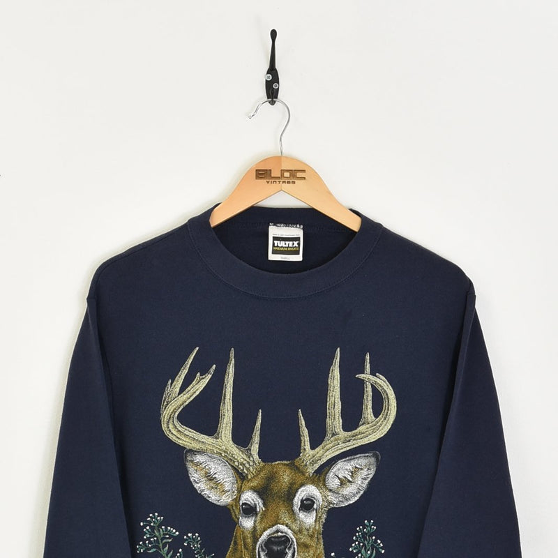 1987 Deer Sweatshirt Blue Small - BLOC Vintage Clothing