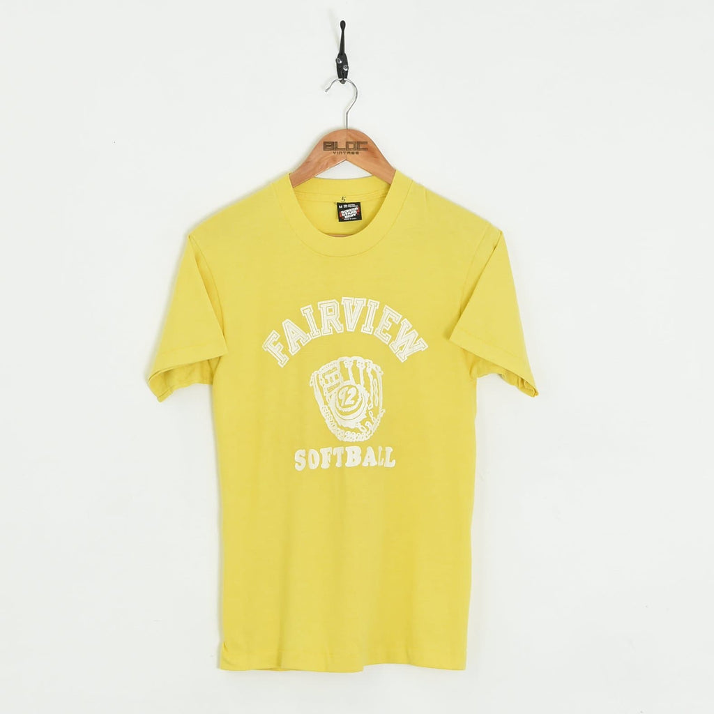 Fairview Softball T-Shirt Yellow XSmall - BLOC Vintage Clothing