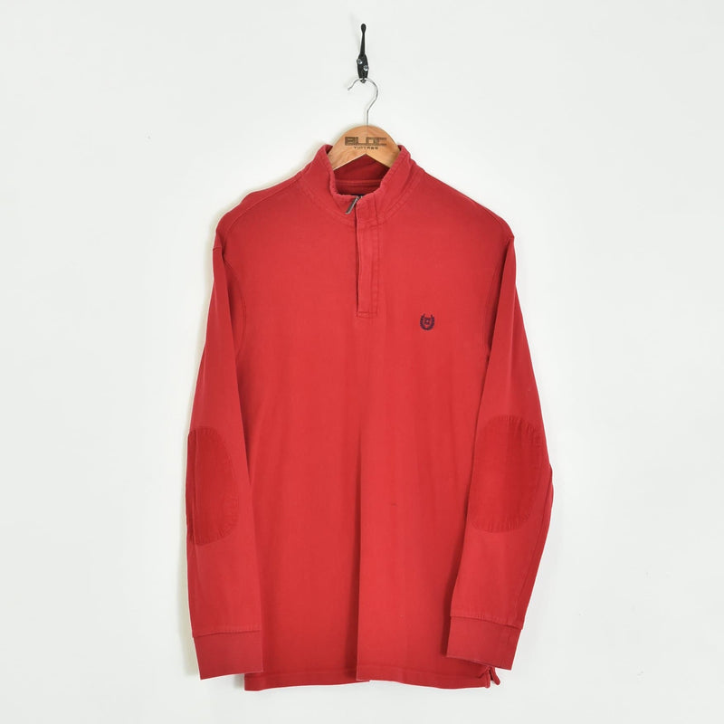 Chaps Ralph Lauren Quarter Zip Sweatshirt Red Large - BLOC Vintage Clothing