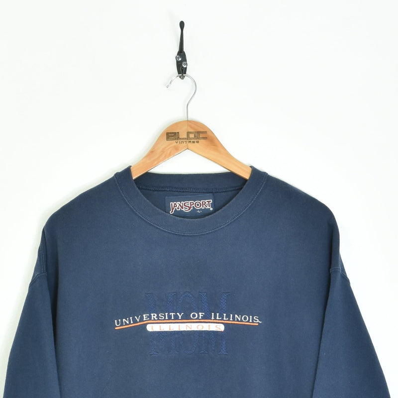 University Of Illinois Mom Sweatshirt Blue Medium - BLOC Vintage Clothing