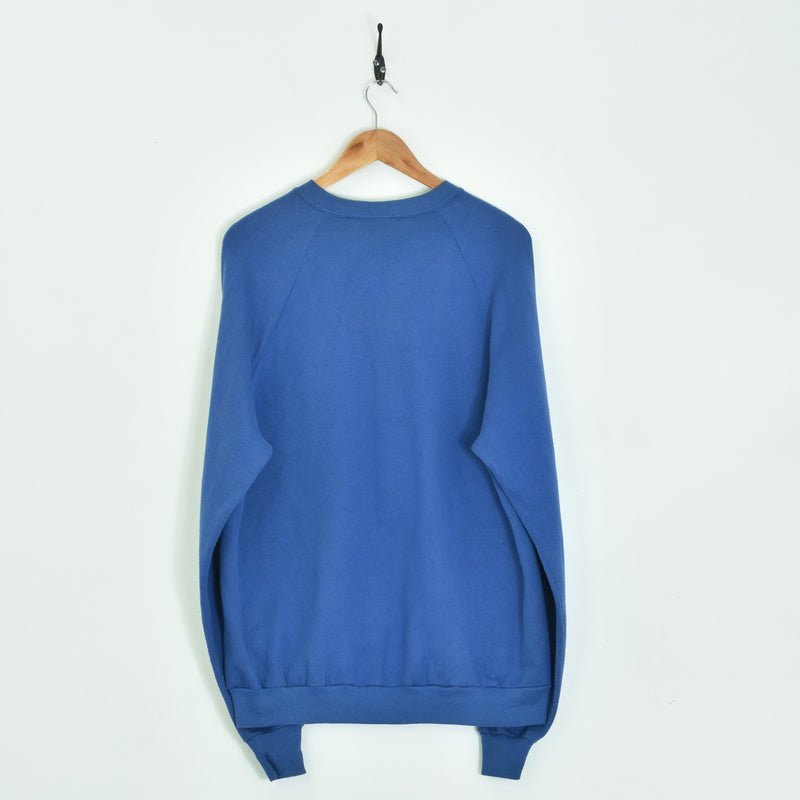 1990 Fishing Sweatshirt Blue Large - BLOC Vintage Clothing
