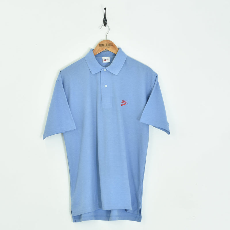 Bootleg Nike Polo T-Shirt Blue Medium - BLOC Vintage Clothing