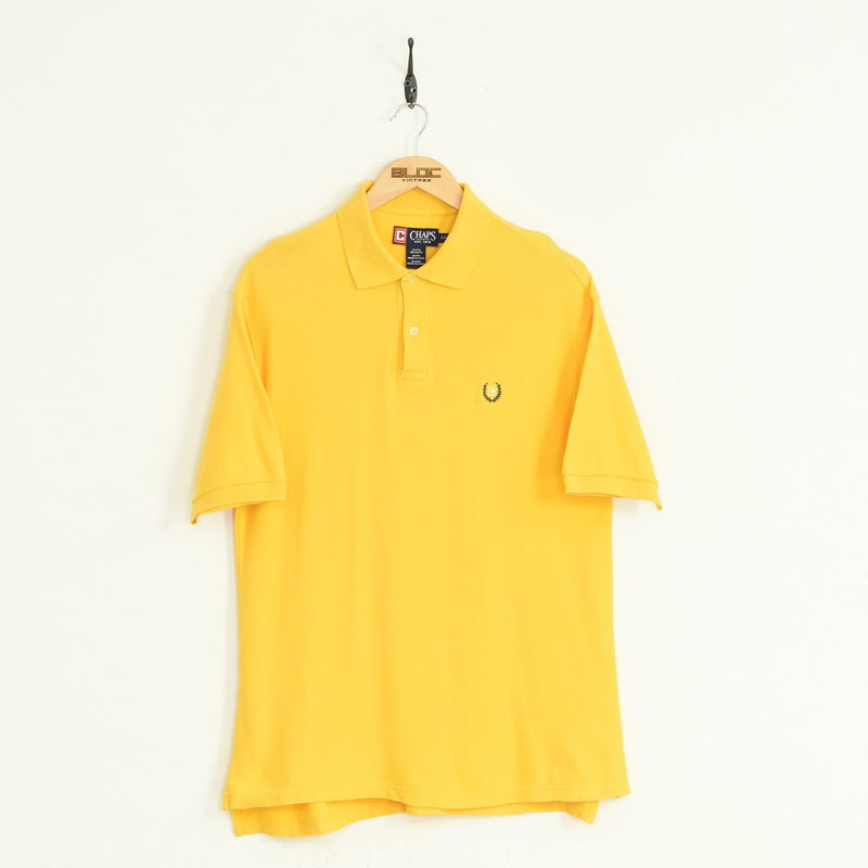 Chaps Ralph Lauren Polo T-Shirt Yellow Large - BLOC Vintage Clothing