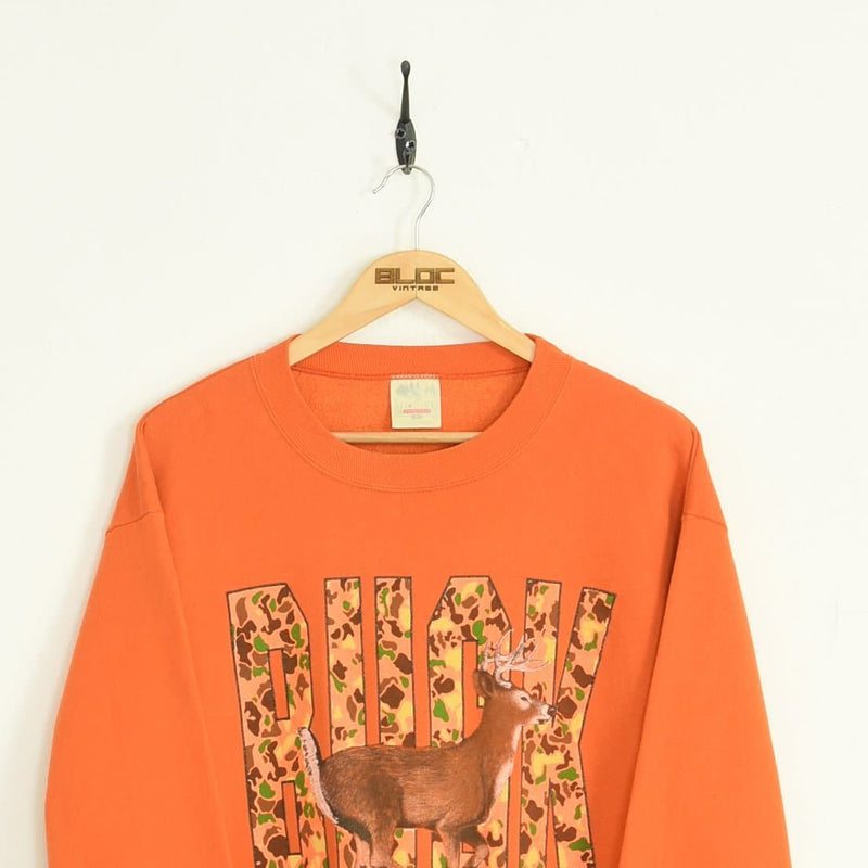 Buck Sweatshirt Orange Large - BLOC Vintage Clothing