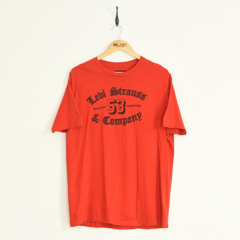 Levis T-Shirt Red Large - BLOC Vintage Clothing