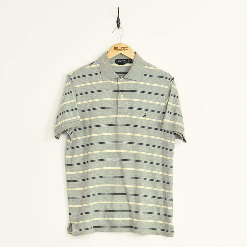 Nautica Polo T-Shirt Grey Medium - BLOC Vintage Clothing