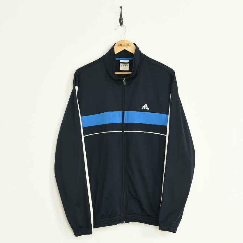 Adidas Tracksuit Top Blue Large - BLOC Vintage Clothing