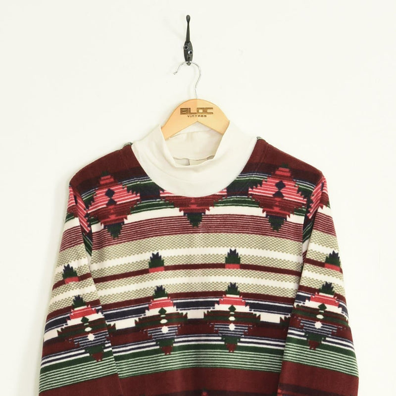 Patterned Fleece Maroon Large - BLOC Vintage Clothing
