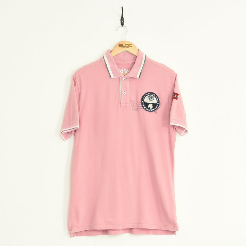 Napapijri Polo T-Shirt Pink Large - BLOC Vintage Clothing
