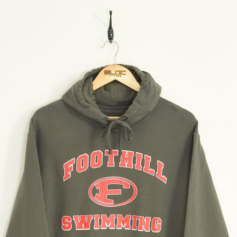 Football Hooded Sweatshirt Grey Medium - BLOC Vintage Clothing