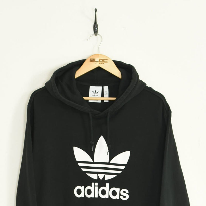 Adidas Hooded Sweatshirt Black Large - BLOC Vintage Clothing