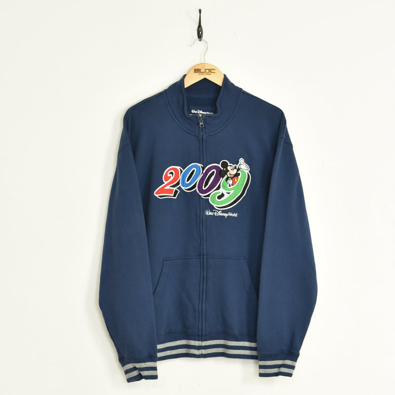 2009 Disney World Zip Up Sweatshirt Blue XXLarge - BLOC Vintage Clothing