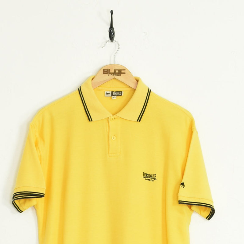 Lonsdale Polo T-Shirt Yellow Large - BLOC Vintage Clothing