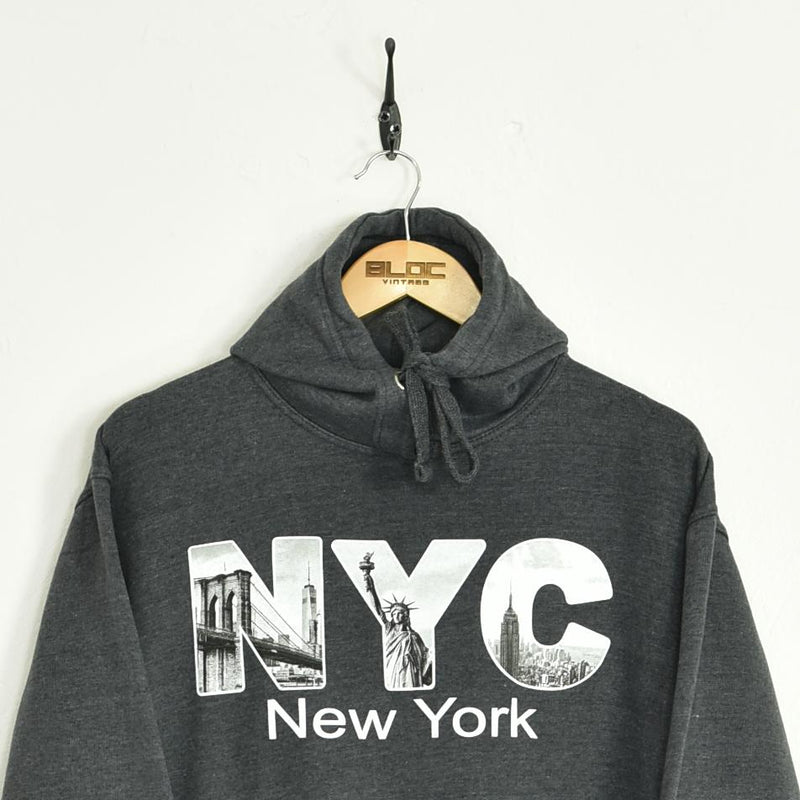 NYC Hooded Sweatshirt Grey Small - BLOC Vintage Clothing