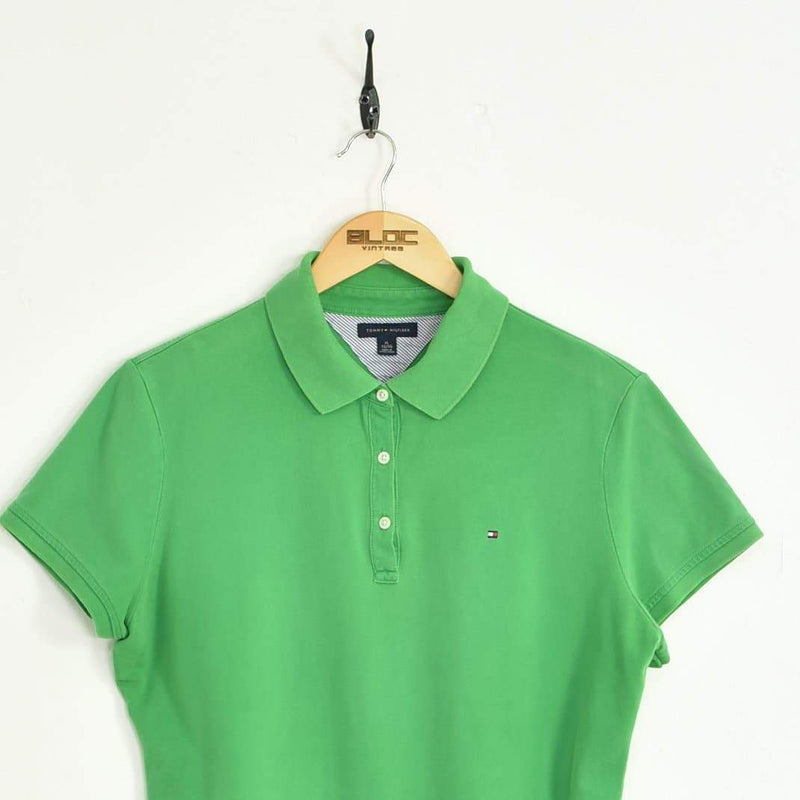 Women's Tommy Hilfiger Polo T-Shirt Green Small - BLOC Vintage Clothing