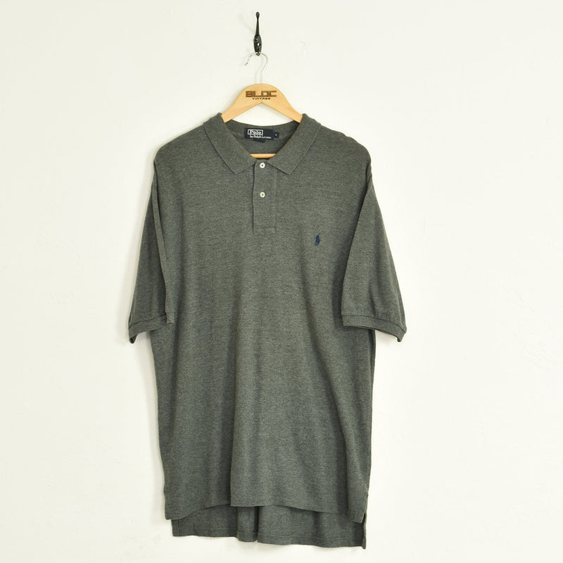 Ralph Lauren Polo T-Shirt Grey XXLarge - BLOC Vintage Clothing
