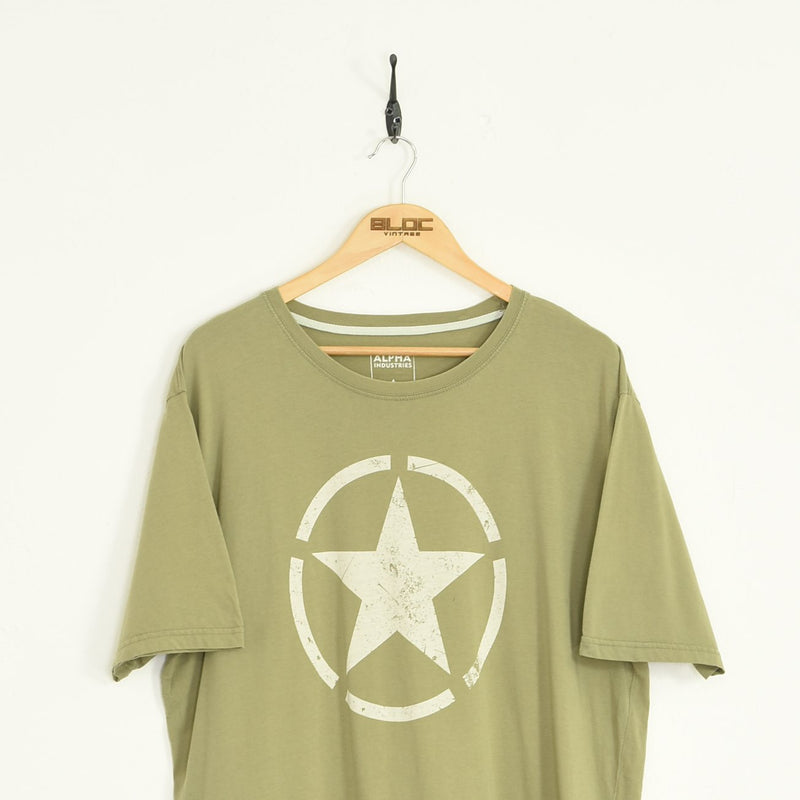 Alpha Industries T-Shirt Green XXLarge - BLOC Vintage Clothing