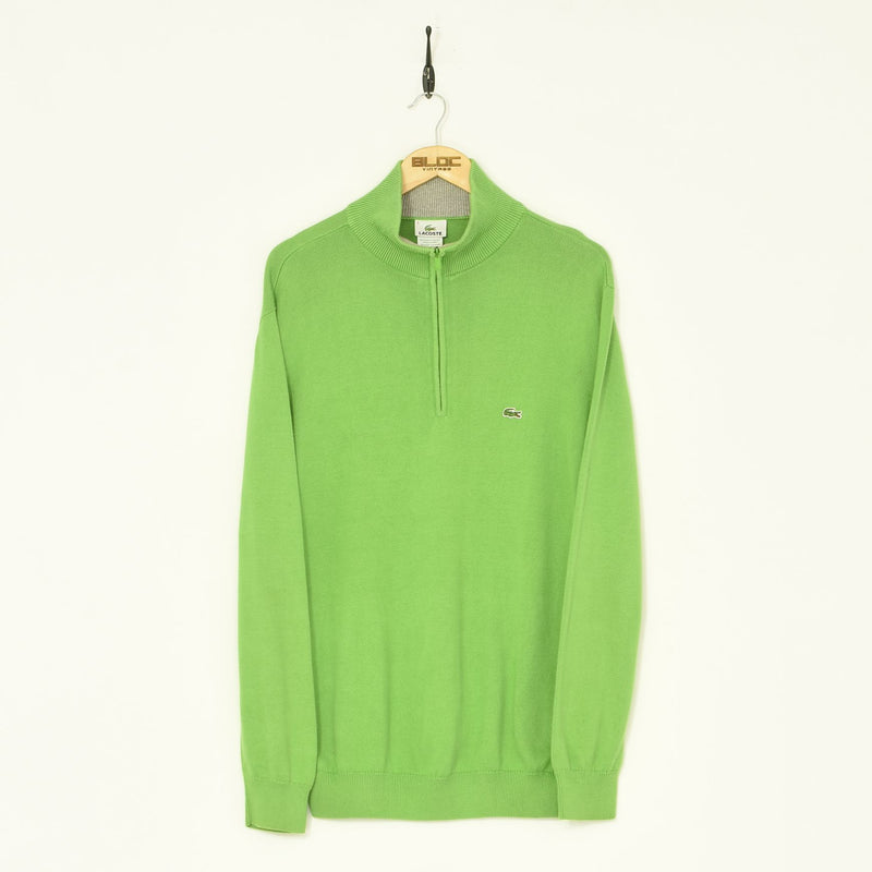 Lacoste Quarter Zip Knitted Sweater Green XLarge - BLOC Vintage Clothing