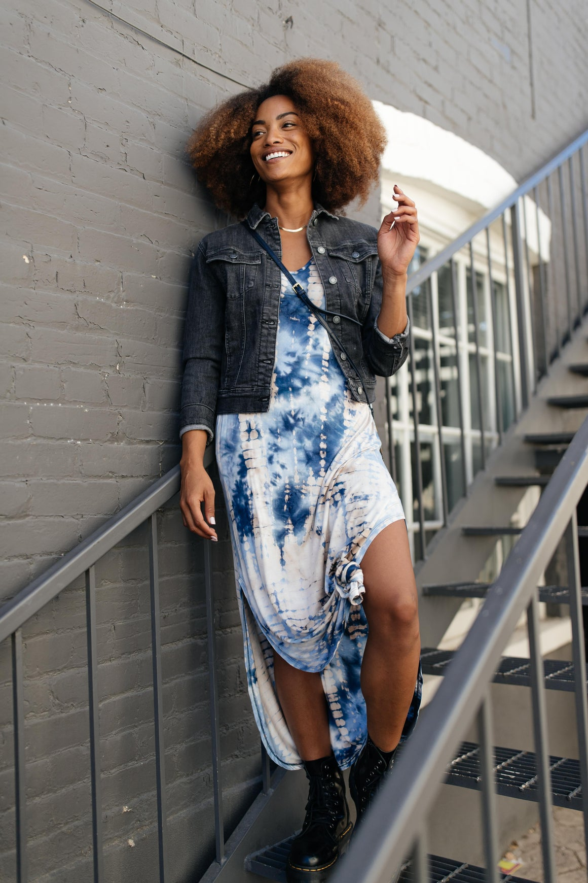 Miami Beach Tie Dye Maxi Dress In Navy