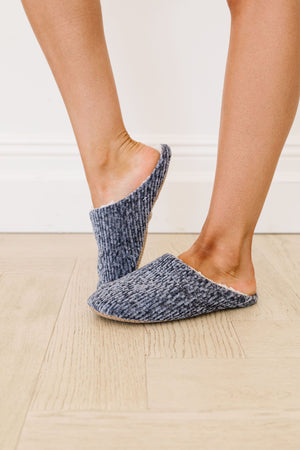 She'll Never Wear Shoes Again Chenille Slippers In Charcoal