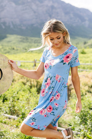 Be A Doll Floral Dress In Dusty Blue