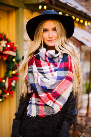 Mad For Plaid Blanket Scarf In Red + Navy