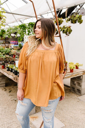Saffron Square Neck Gathered Blouse