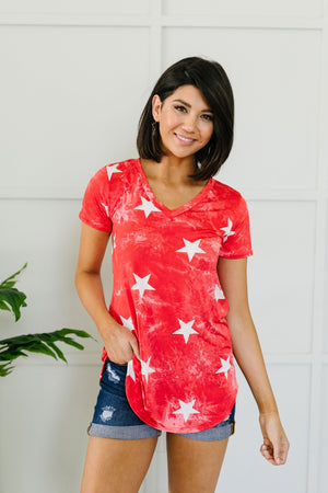Tie Dye Glory V-neck In Red