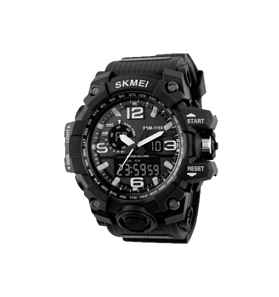 Fashion Sport Watch (Dual Timer/Water Proof) - Black