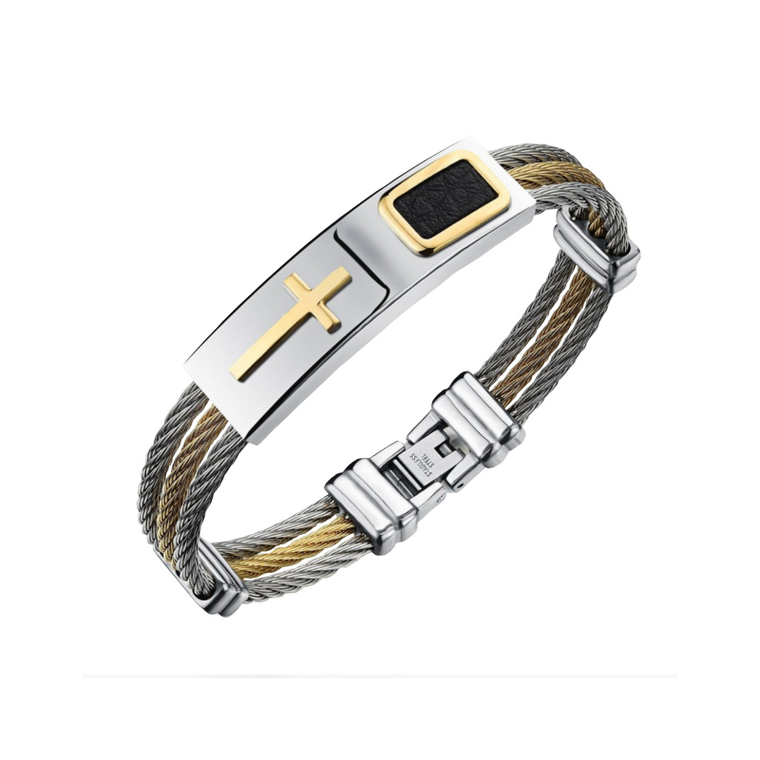 Premium Gold Stainless Steel Cross Bracelet