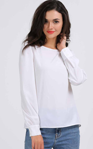 Plain White Full Sleeve Women's Top