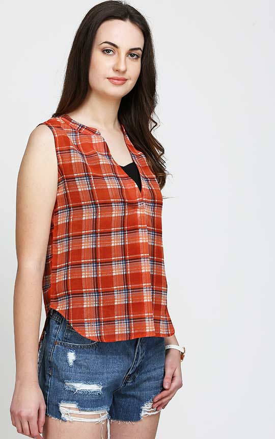 Rust Checked Sleeveless Stylish Top