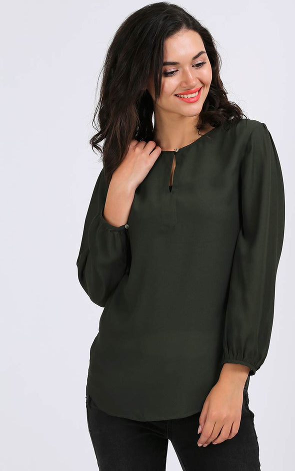 Army Green Full Sleeve Women's Top