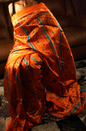 Bandhani Saree In Orange Print