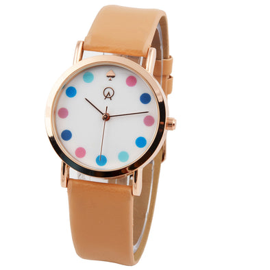 Beige Cute Colorful Dial Girls Watch