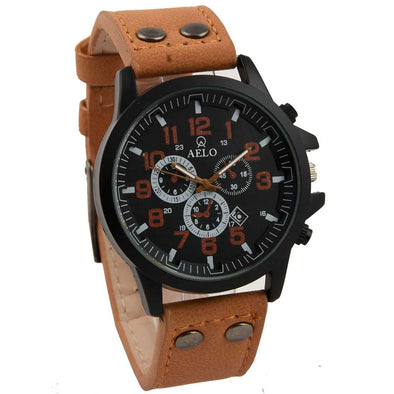 Aelo Beige Leather Strap Sport Army Men's Watch