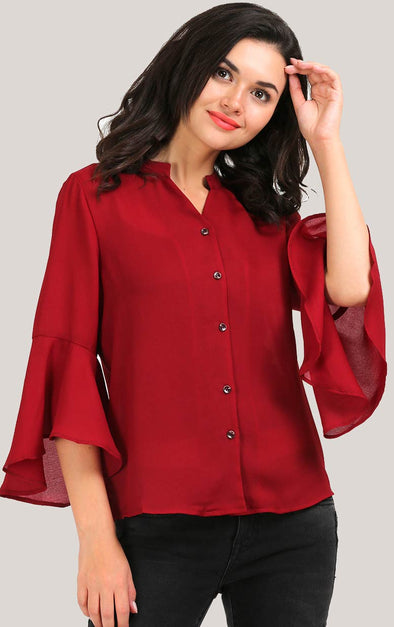 Bell Sleeve Maroon Women's Shirt