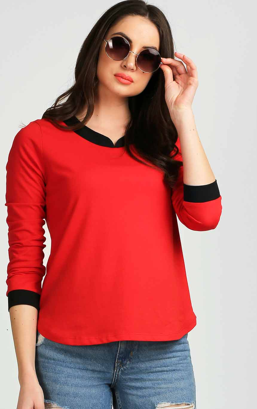 4249858ce Black And Red Top For Women – AELOMART