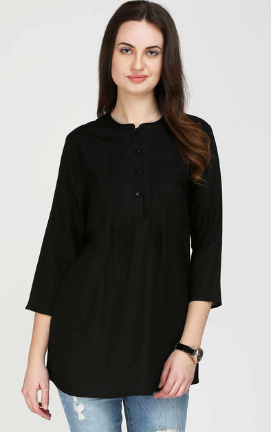 Black-Front-Pleated-Tunic-Top