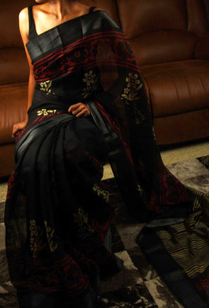 Black Saree In Red Floral Print