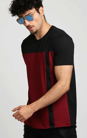 Black-and-Maroon-Front-Button-Design-T-Shirt-For-Men