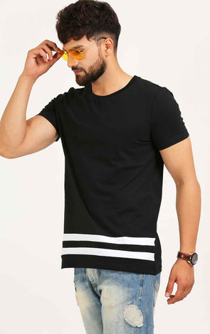 Black Long T Shirt With White