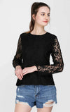 Full Sleeves Black Lace Top