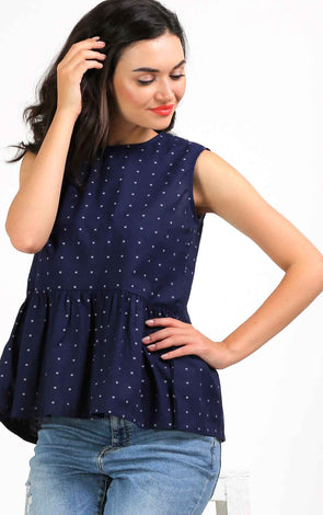 Blue Print Peplum Top
