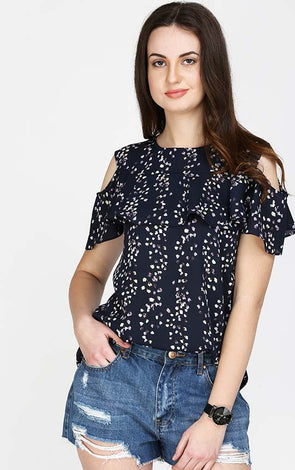 Blue Cold Shoulder Ruffle Top